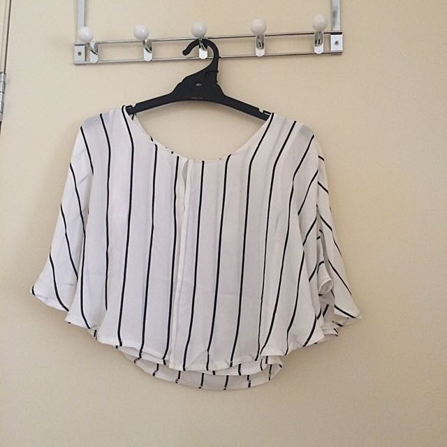 White And Black Bat Wing Top