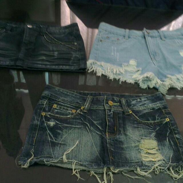 牛仔短裙X2+短褲