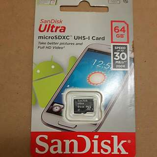 Sandisk 高速C10 U1手機記憶卡MicroSD 64GB