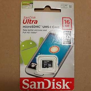 Sandisk 高速C10 U1手機記憶卡MicroSD 16GB
