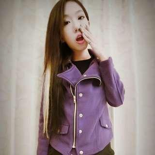 ➕騎士款紫色短毛外套➕