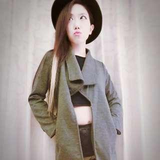 韓國高質感外套附皮帶