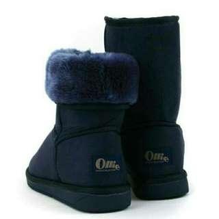 售!Ollie中筒雪靴 可反摺 藍s (免運)