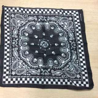 黑色骷髏頭造型頭巾