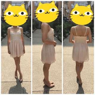 H&M粉色肩帶蕾絲小洋裝