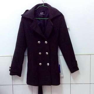 冬💙學院風雙排扣毛呢大衣