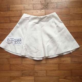 White Flippy Scuba Skater Skirt