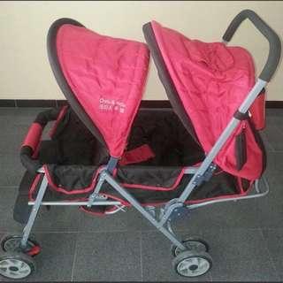 (Sold) Preloved Korean Chris & Belle Twin Jazz Double Stroller