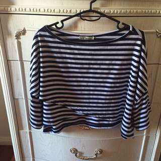 NAVY BLUE AND WHITE STRIPED OFF SHOULDER TOP