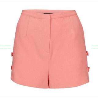 TOPSHOP Pink Bow High Waisted Shorts