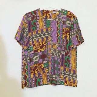 SALA購入/復古圖騰滑布上衣