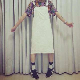 SALA購入/小叮噹大口袋乳白色燈芯絨吊帶裙