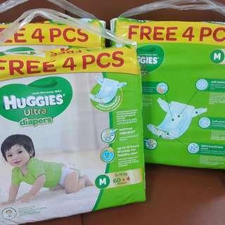 Huggies Ultra M60+4 Diaper (New packaging)