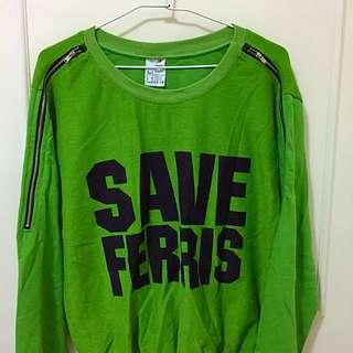 綠色英文上衣
