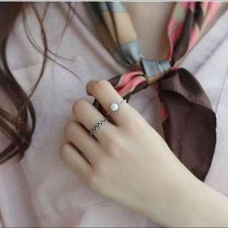 韓版925純銀麻花珍珠戒指