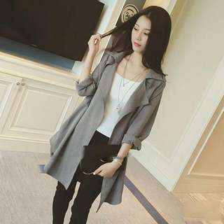 韓版素色風衣外套