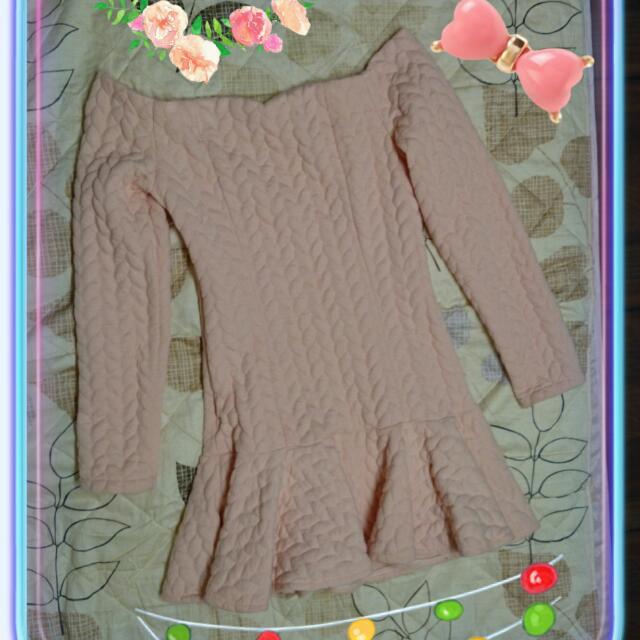 一字領修身顯瘦露肩洋裝*厚棉暖冬裙