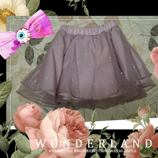 已售)粉紫色珍珠紗裙