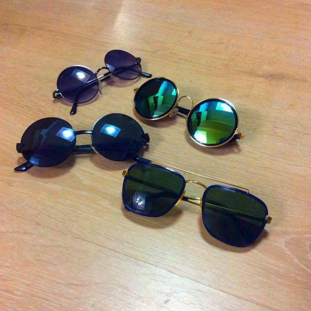 藍綠色反光片太陽眼鏡