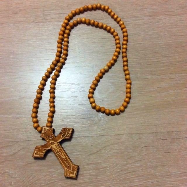 十字架木頭串珠長鍊