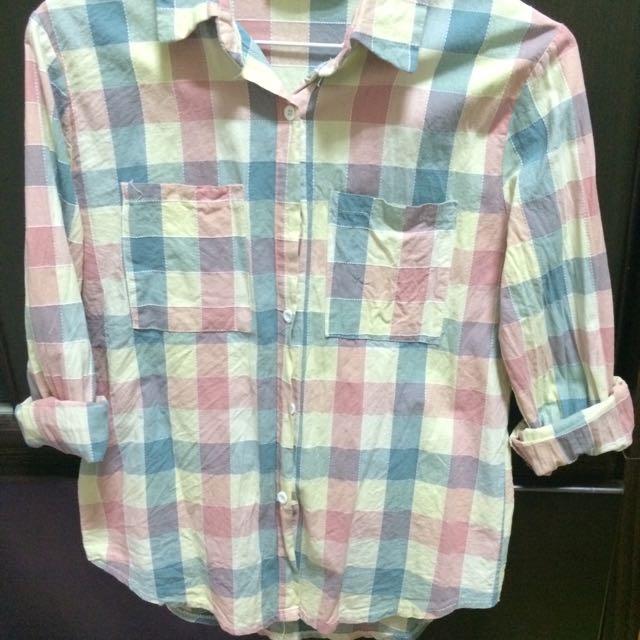 藍粉格襯衫