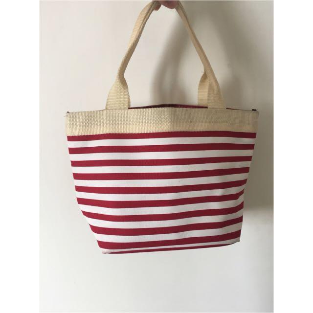紅色條紋帆布包