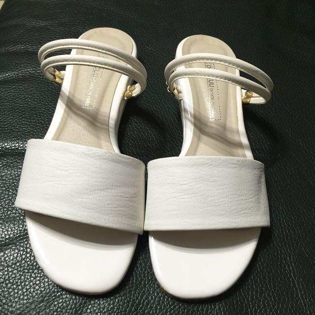 正韓製 純白兩穿涼拖鞋