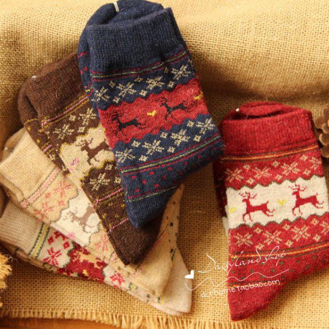 [全新現貨]聖誕小鹿圖騰兔毛羊毛襪|保暖襪| 秋冬必備