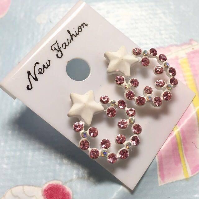 全新 韓系 星星粉鑽耳環