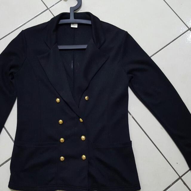翻領雙排扣 黑色  棉質 外套