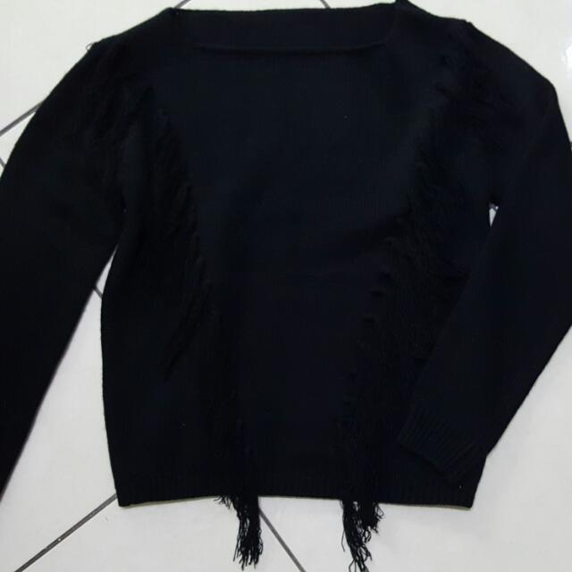 全新   秋冬 針織   造型流蘇   毛衣 上衣  黑