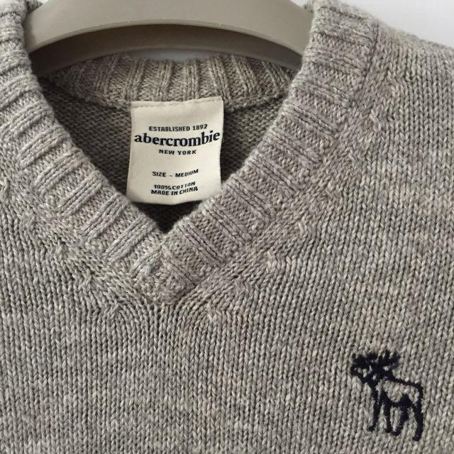 降價求出清 美國帶回 全新 A&F 灰色毛衣 學院風 Abercrombie & Fitch / a&f / AF