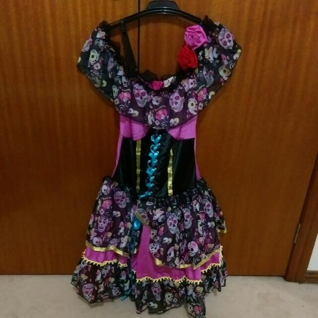 Day Of The Dead Candy Skull dress w Gloves