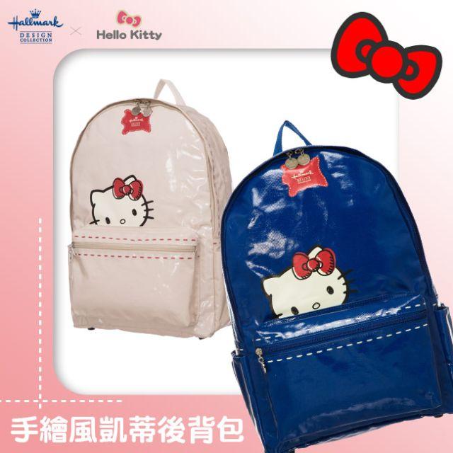 Hallmark x kitty聯名 手繪風漆皮後背包(白/藍)