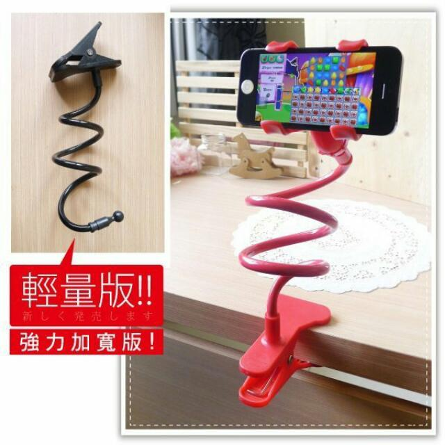 手機懶人支架-加寬雙夾/iPhone5S/6plus 小米 Note4 S6夾式萬用車用手機架