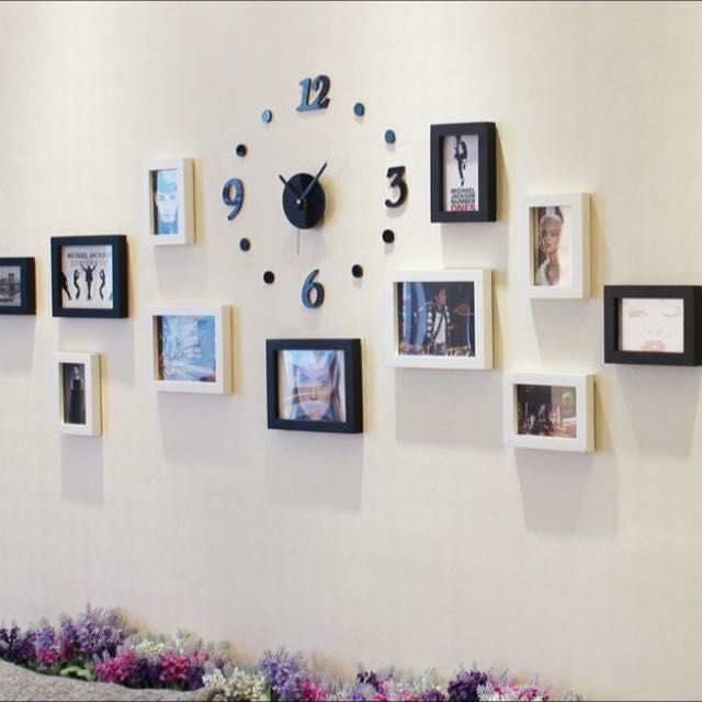 Manhattan Style Photo Frames Set With Clock Set, Furniture on Carousell
