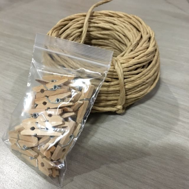 Reserved Mini Wooden Pegs And Textured Decorative String