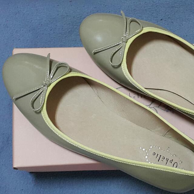 8成新 Ophelie 淺灰×鵝黃 芭蕾娃娃鞋