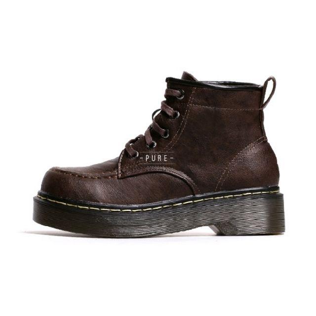 [Shoe] 2015 英倫 複古 秋冬 厚底 松糕 女 短靴 系帶 馬丁靴 潮靴 機械靴 牛筋 短筒 裸靴/編號:1002