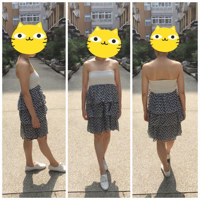Zara平口蛋糕裙小洋裝