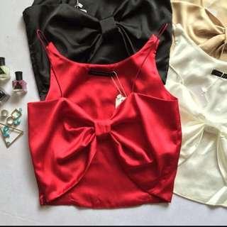 紅色絲綢彈性緞面蝴蝶結 衫 小可愛