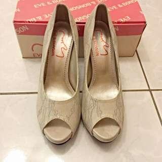 ✨全新✨高跟魚口鞋(蕾絲米色)尺寸39(24.5)