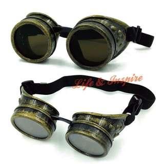 復古蒸汽龐克道具眼鏡鏡框 風鏡飛行鏡騎士鏡 Steampunk配件 工業風 舞台表演