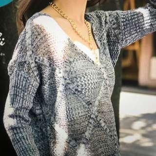《全新含運》菱格紋簍空針織上衣