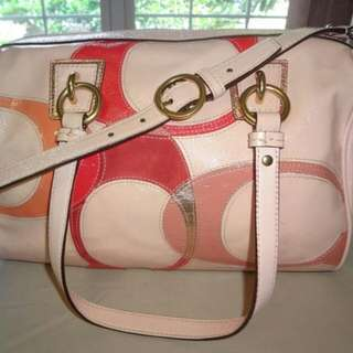 Coach Inlaid Satchel Bag in nude peach