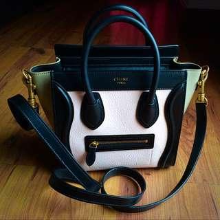 Celine Nano Luggage Bag in Light Rose & Black