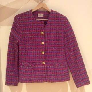 Fantastic Colourful 80s Tweed Jacket L/14