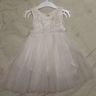 5號 小花童白色玫瑰花紗裙
