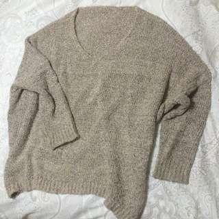 混色毛線針織V領上衣