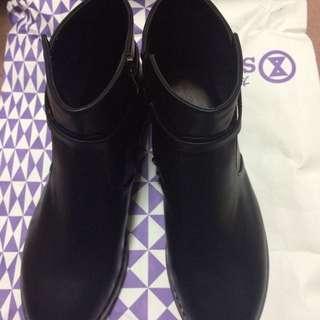 時尚短靴 跟靴 踝靴 全新 黑色 37 23.5